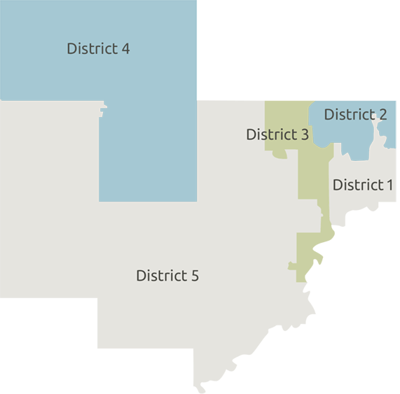 Map showing the 5 districts of Carver County